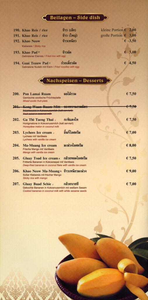 Beilagen & Desserts