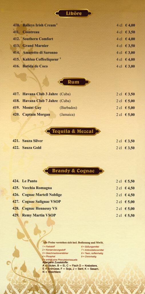 Liköre, Rum, Tequilla & Cognac